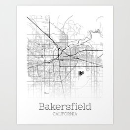 Map of the City Neck Gaiter Bakersfield Calfornia Map Neck Gator Art Print