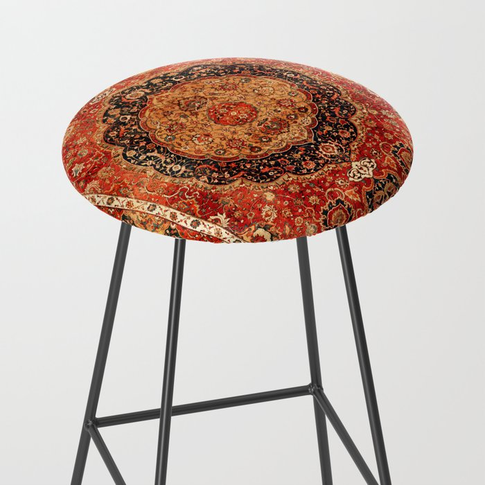 Seley 16th Century Antique Persian Carpet Print Bar Stool