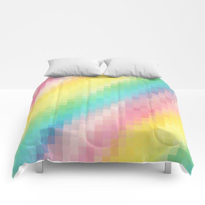 Rainbow pixels Comforters