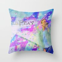coldplay Throw Pillows featuring Chris Martin-Coldplay-Digital Impressionism by Sophie Grace