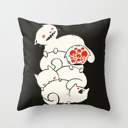 Strange Pile Of Monster Cats Drawing Throw Pillow