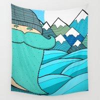 beard Wall Tapestries featuring Blue Beard by  Steve Wade ( Swade)