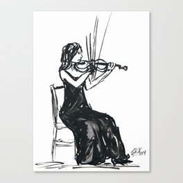 Playing the violin Canvas Print