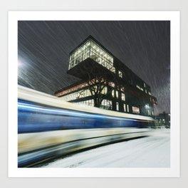 Library Blizzard Art Print