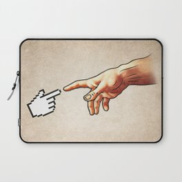 Funny 8bit Nerd & Geek Humor (Creation of Adam Parody) Laptop Sleeve