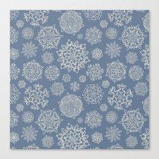 Merry Christmas- Abstract christmas snow star pattern on fresh grey I Canvas Print