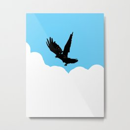 Crow Above the Clouds Metal Print