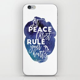 Bible verse watercolor typography blue background Colossians 3:15 iPhone Skin