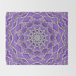12-Fold Mandala Flower in Purple Throw Blanket