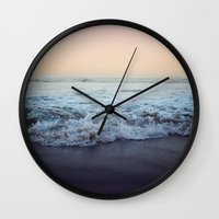 shipping Wall Clocks featuring Crash into Me by Leah Flores