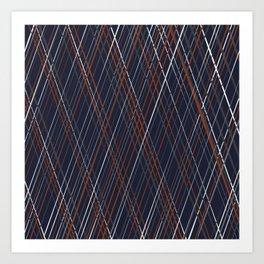Navy and Rust Crossing Diagonal Lines Art Print