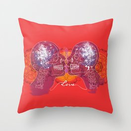 Cosmic Love - Red Throw Pillow