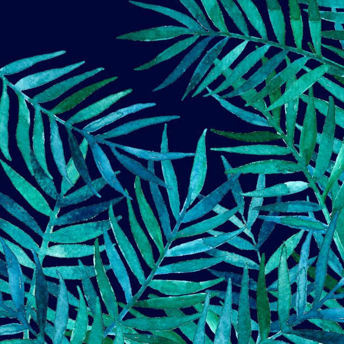 Watercolor Palm Leaves on Navy Comforters