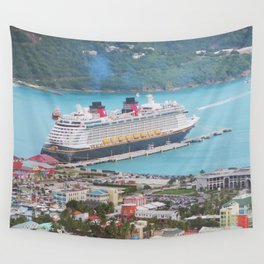 View of our ship Tortola Wall Tapestry