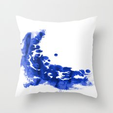 Paint 9 abstract indigo watercolor painting minimal modern canvas affordable dorm college art  Throw Pillow