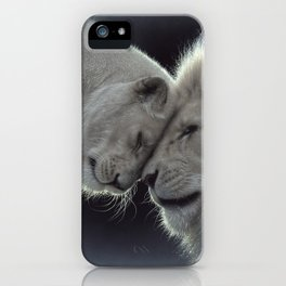 White Lion Love iPhone Case