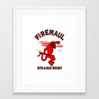 whisky Framed Art Prints featuring Firemaul Whisky by Ant Atomic