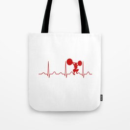 WEIGHTLIFTING WOMAN HEARTBEAT Tote Bag