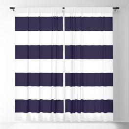 Dark eclipse Blue and White Wide Horizontal Cabana Tent Stripe Blackout Curtain