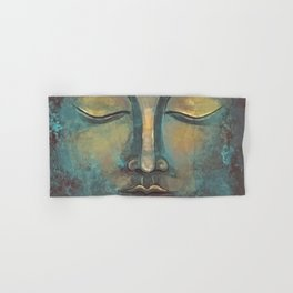 Rusty Golden Copper Buddha Face Watercolor Painting Hand & Bath Towel