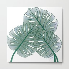 Large Monstera Leaf in Pine Green Metal Print
