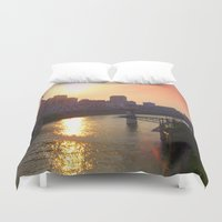 nashville Duvet Covers featuring Nashville Dusk by Andooga Design