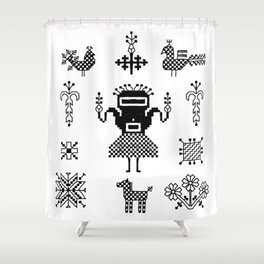folk embroidery, Collection of flowers, birds, peacocks, horse, man, geometric ornaments, symbols e Shower Curtain