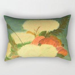flowers in a glass vase . Oil painting . art Rectangular Pillow
