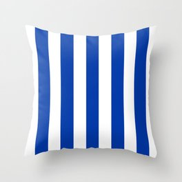 Royal azure - solid color - white vertical lines pattern Throw Pillow