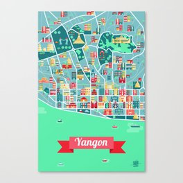 Yangon Map Canvas Print