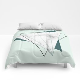 Abstract Geometric Triangle White Marble Mint Green Comforters