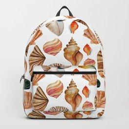 Coral pink orange watercolor nautical seashells Backpack