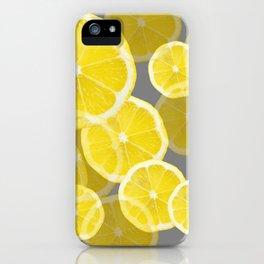 MODERN ABSTRACT  LEMON SLICES ON GREY ART iPhone Case