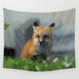 Snow on the Red Fox Noze Wall Tapestry