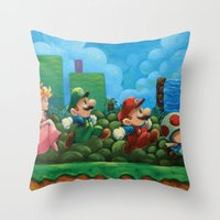 mario bros Throw Pillows featuring Super Mario Bros 2 by Josh J Dunbar