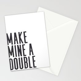 MAKE MINE A DOUBLE, Whiskey Quote,Home Bar Decor,Bar Poster,Bar Cart,Old School Print,Alcohol Sign,D Stationery Cards