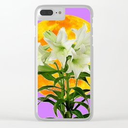 EASTER LILIES ON LILAC GOLDEN MOON Clear iPhone Case