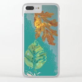 Two leaves, painted acrylic Clear iPhone Case