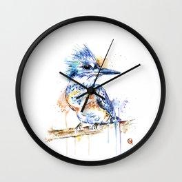 Kingfisher Colorful Watercolor Bird Painting Wall Clock