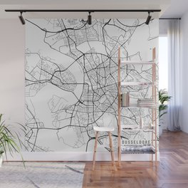 Dusseldorf Map, Germany - Black and White  Wall Mural