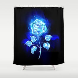 Burning Blue Rose Shower Curtain
