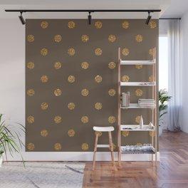 Umber Gold Glitter Dot Pattern Wall Mural