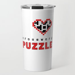 I Love Crossword Puzzle Geek Numbered Squares Puzzlers Thinking Gift Travel Mug