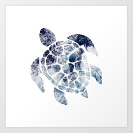 Sea Turtle - Blue Ocean Waves Art Print