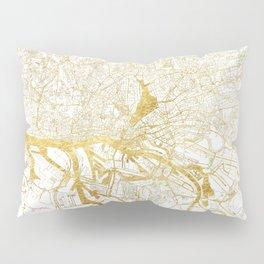 Hamburg Map Gold Pillow Sham