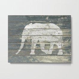 White Elephant Silhouette on Teal Wood A215C Metal Print