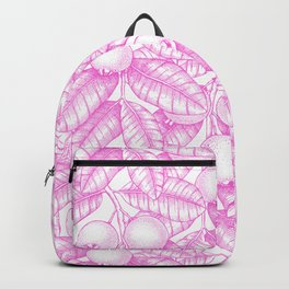 Modern hand painted pink white floral guava pattern Backpack