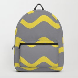 Soft Rippled Horizontal Line Pattern Pantone 2021 Color Of The Year Illuminating and Ultimate Gray  Backpack
