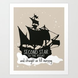 Second star to the right and straight on till morning - Peter Pan Inspired Art Print  Art Print