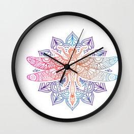 Magical Mandala Dragonfly. Psychedelic Colorful Dragonfly print Wall Clock